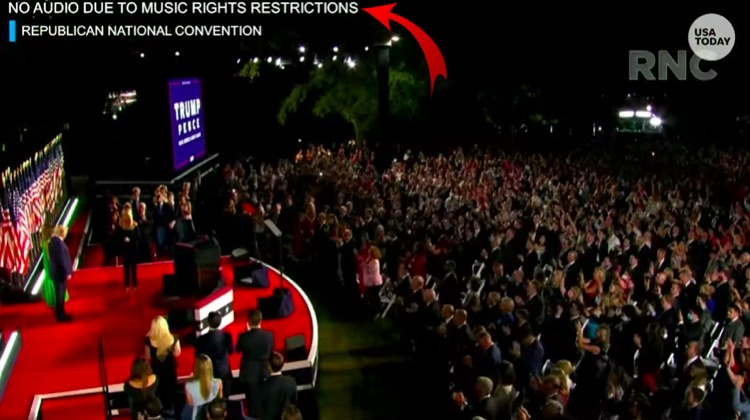 A muted video of Donald Trump's acceptance speech at the Republican National Convention on Friday, August 28th.