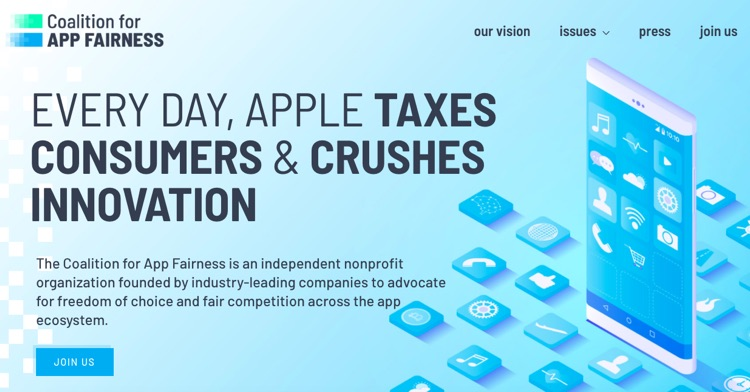 The Coalition for App Fairness' just-launched website.