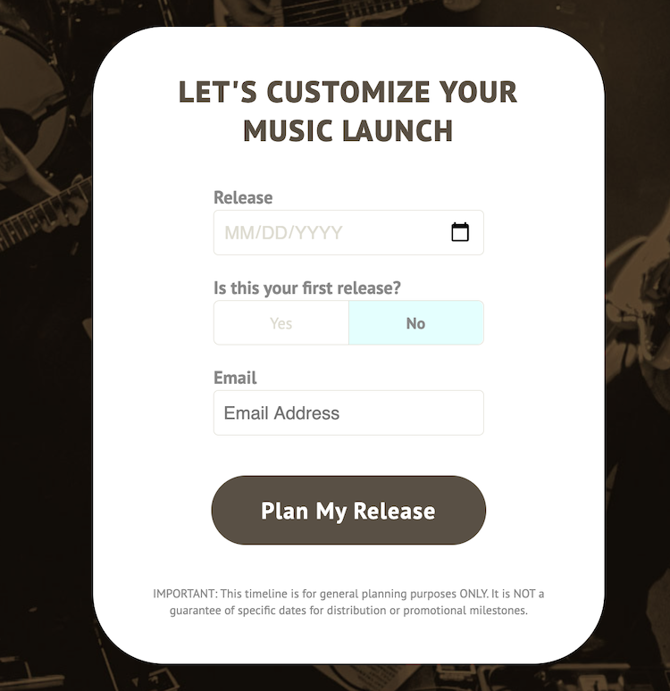 Customize your music release plan