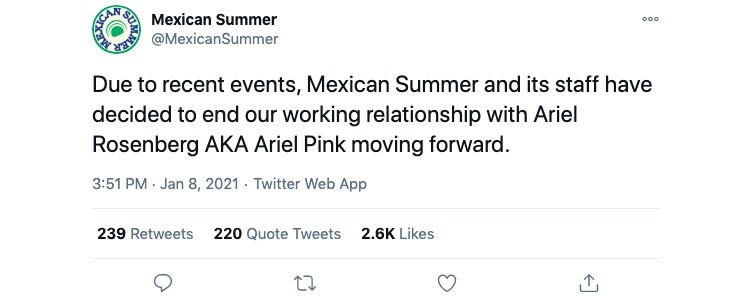Indie label Mexican Summer officially announcing its decision to drop Ariel Pink.