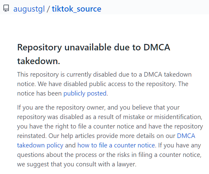 TikTok source code leak DMCA