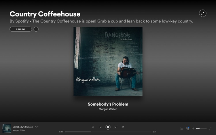 Morgan Wallen on Spotify's Country Coffeehouse playlist, which has nearly 600,000 followers, pictured February 23rd, 2021.