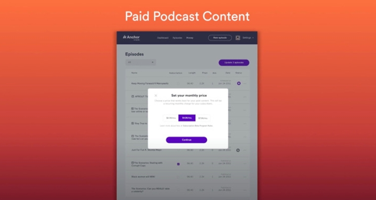 Spotify paid podcast subscriptions