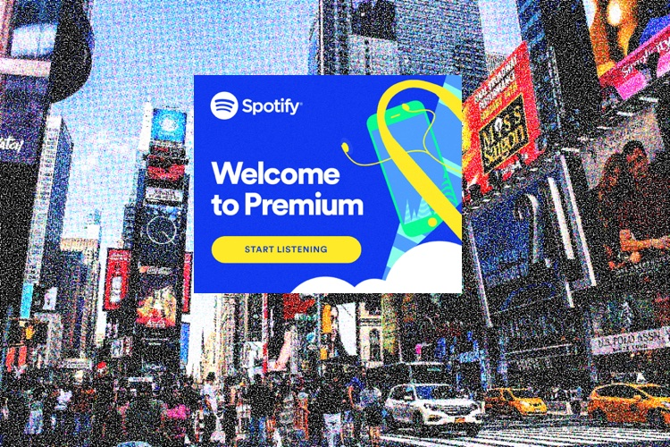 Spotify Premium podcast ads. Times Square photo by Wallula, adapted by Digital Music News.