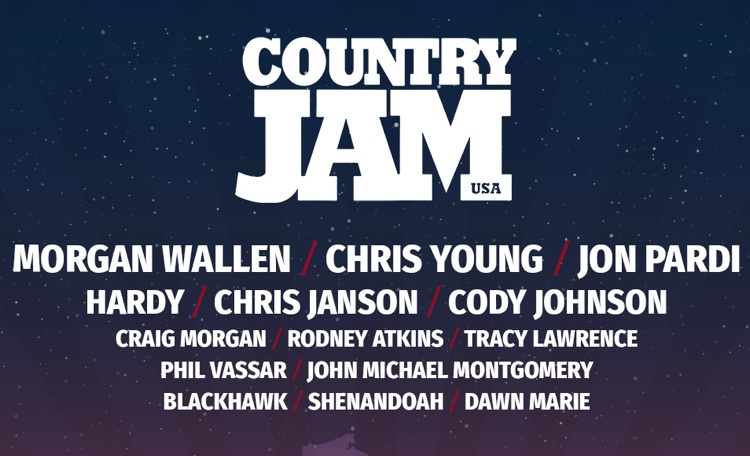 Country Jam USA's 2021 list of performers, as of March 8th, 2021