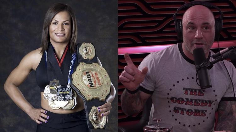 Trans MMA fighter Fallon Fox (l) and Joe Rogan (r) (Photos: Fallon Fox; Digital Music News)
