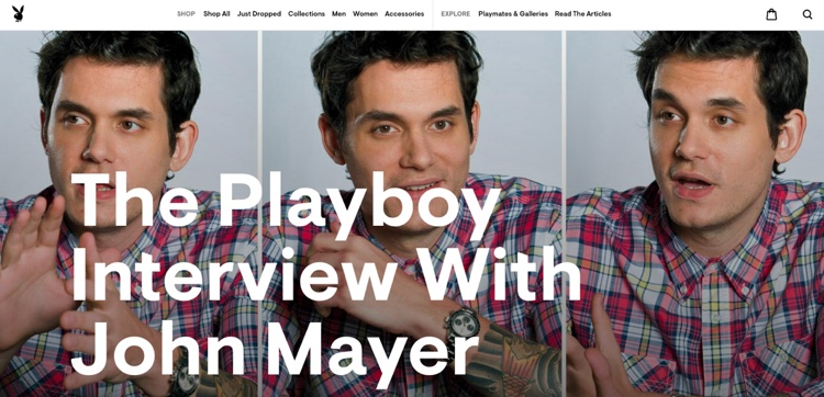 Screengrab of Playboy's 2010 interview with John Mayer, which remained online at the time of this article's publication.