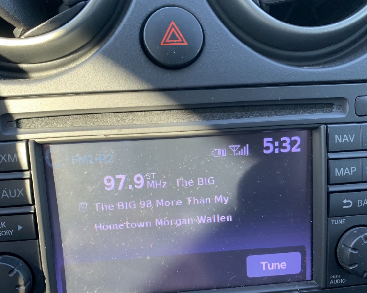 Morgan Wallen playing earlier this month on Nashville's The Big 98 after a reinstatement by corporate parent iHeartMedia.