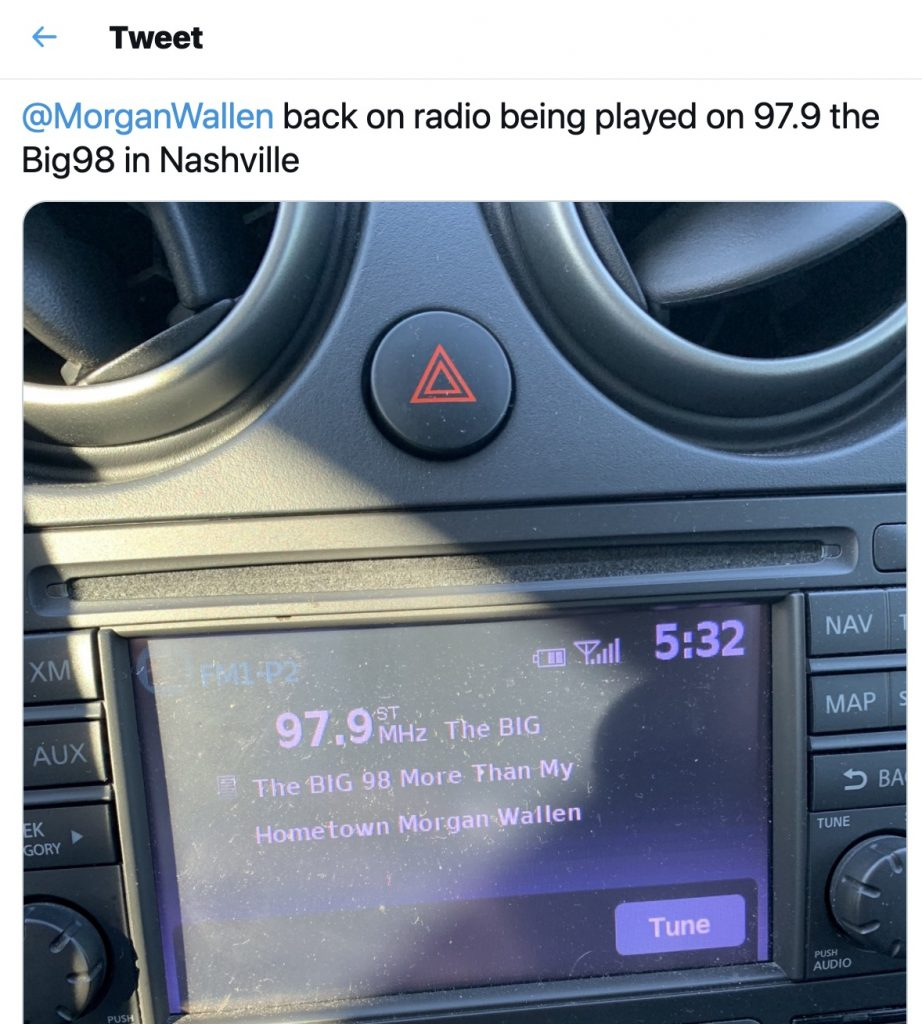 An in-dash screengrab of Morgan Wallen recently being played on country radio station Big98 in Nashville