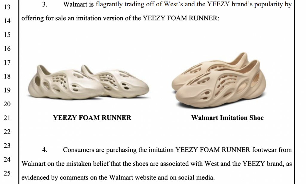 Court filing shows a side-by-side comparison of Yeezy's Foam Runners and knock-offs available on Walmart's site.