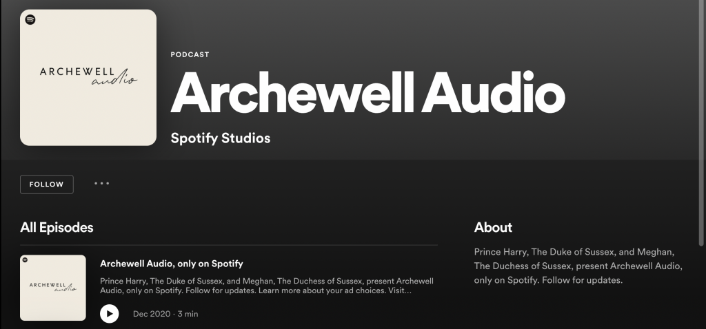 Meghan Markle and Prince Harry exclusive Spotify podcast channel Archewell Audio