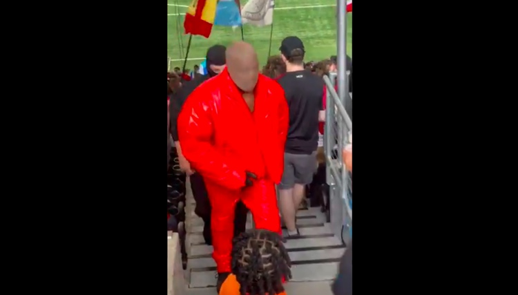 Kanye West spotted at Mercedes-Benz Stadium, where he is reportedly remaining to finish the Donda album.