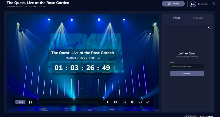 LiveControl pour les diffusions en direct
