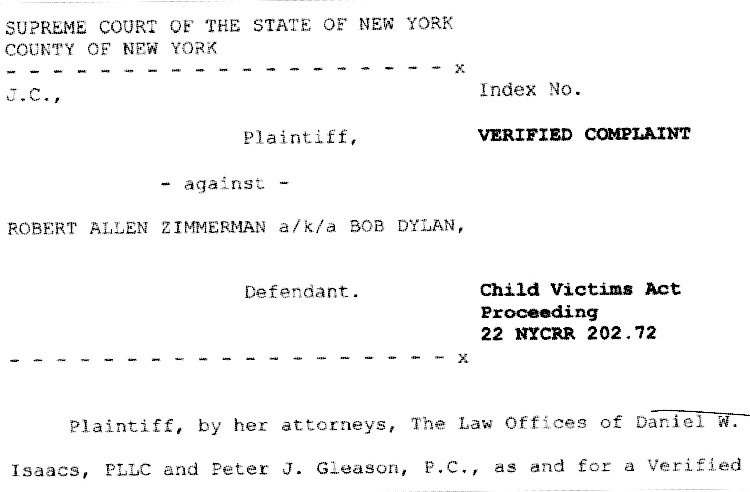 Scan of legal filing against Robert Zimmerman, aka Bob Dylan, officially filed August 13th (Digital Music News)