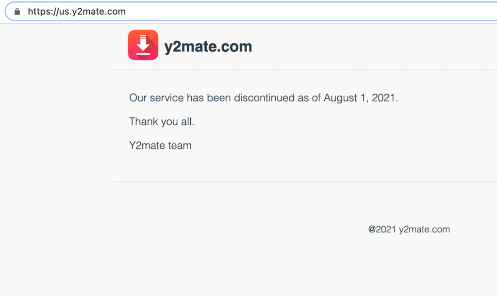 The y2mate site in the United States as of August 1st, 2021