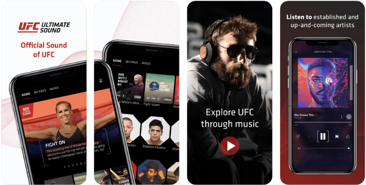 The custom-crafted UFC Ultimate Sound streaming music platform, crafted by Tuned Global and ACX Music